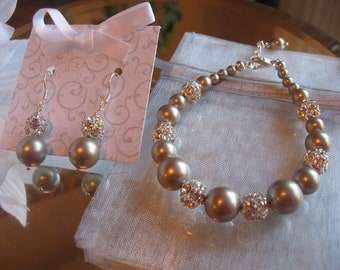 Swarovski Platinum Silver Pearl and Swarovski Rhinestone Bracelet and Earring Set - Bride or Bridesmaid Jewelry