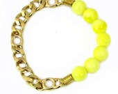 Bright Yellow Resin Beads - Gold Metal Chain - Stretch Bracelet