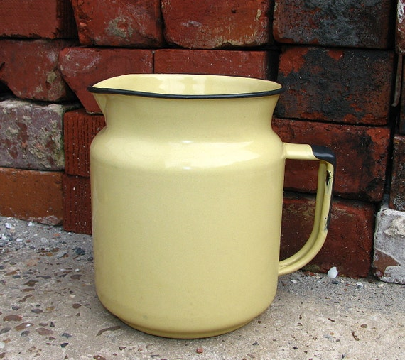 sweetly rustic duotone enamel pitcher -- black and pale yellow
