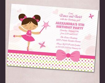Ballerina girls birthday party digital printable invitation - Print your own