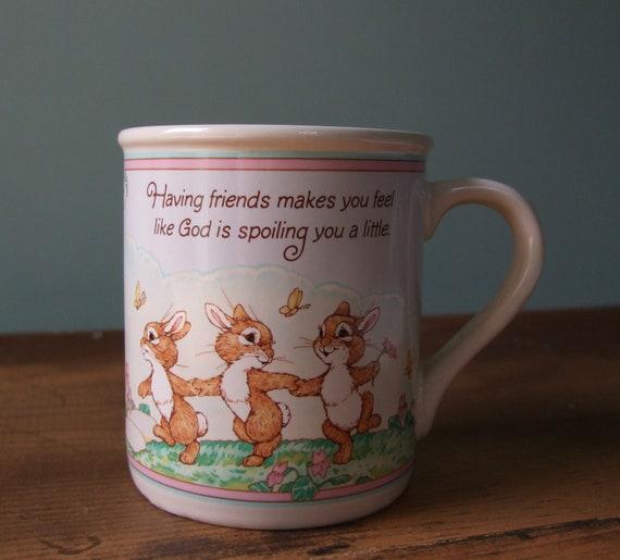 Hallmark Mug Mates Friendship Bunny Rabbits Deer & Woodland Animals