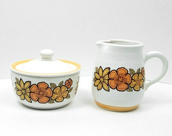 Vintage Floral Creamer and Sugar Bowl SET