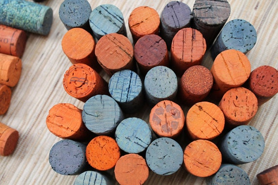 Wine Craft Corks Orange And Blue Colored Corks Diy Craft