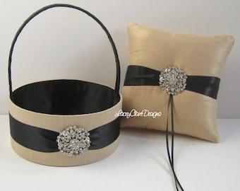 Wedding Ring Bearer Pillow Ring Pillow and Flower Girl Basket - custom made