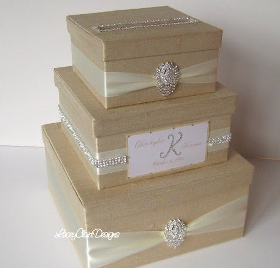 Box, Bling Card Box, Rhinestone Money Holder, Unique Wedding Gift Box ...