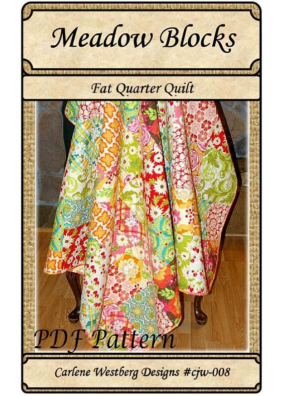 Pdf Quilt Pattern Meadow Blocks Fat Quarter Quilt Carlene