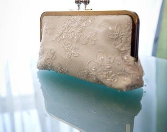 Bridal Clutch Ivory Alencon Lace Daisy Pattern Accented with Pearls