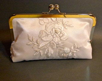 Bridal or Bridesmaid Clutch Beautiful Rose Embroidery