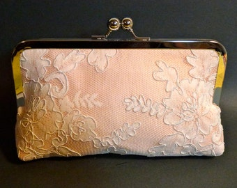 Bridal Clutch Blush Pink Silk with Ivory Lace Overlay romantic victorian wedding