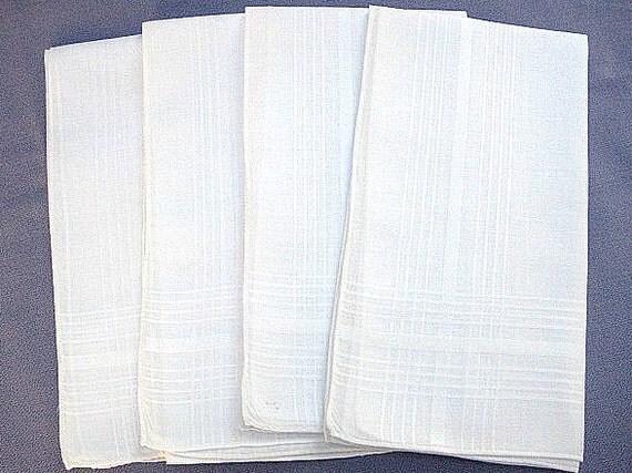 Men's Handkerchiefs, Vintage White Cotton Blend, 4 Count, Woven Pattern Along Edge, Machine Rolled Hem, Excellent Condition