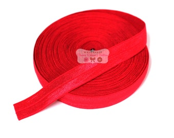 "Red Fold over Elastic - 5/8""  FOE - DIY Headbands - 5 yards - Wholesale Fold Over Elastic - Headband ELastic"
