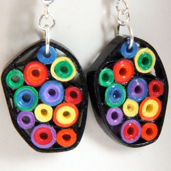 Rainbow Earrings Retro Circles Paper Quilled One Of A Kind