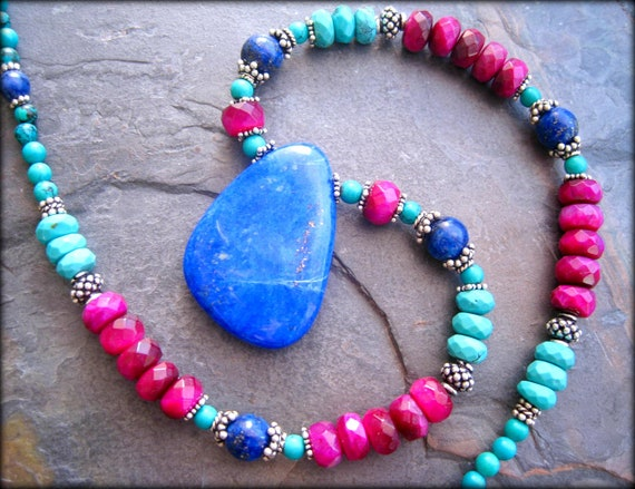 Storewide Sale, Lapis Necklace,Turquoise Necklace, Southwest Necklace, Lapis Pendant, Sterling Silver, Southwest Jewelry