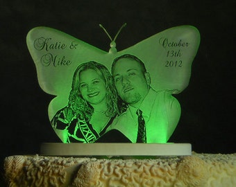 Butterfly Photo Etched Wedding Cake Topper - Light OPTION