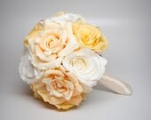Wedding Bouquet Soft Yellow Rose Silk Wedding Bouquet