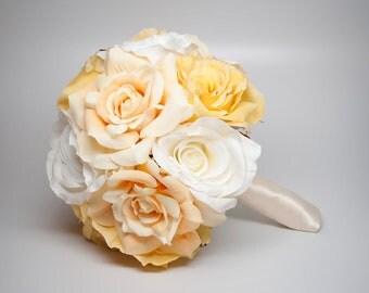 Wedding Bouquet Soft Yellow Rose Silk Wedding Bouquet