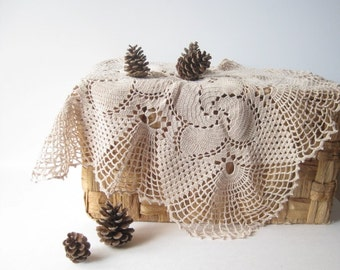 """Coffee table protector Christmas decorating beige doily 22""""x22"""" crochet doily in excellent condition shabby chic home decor and gift ideas"""