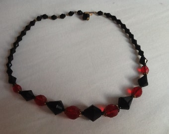 Vintage Choker Necklace Black and Red Faceted Glass Beads Pinup Rockabilly VLV Viva Las Vegas