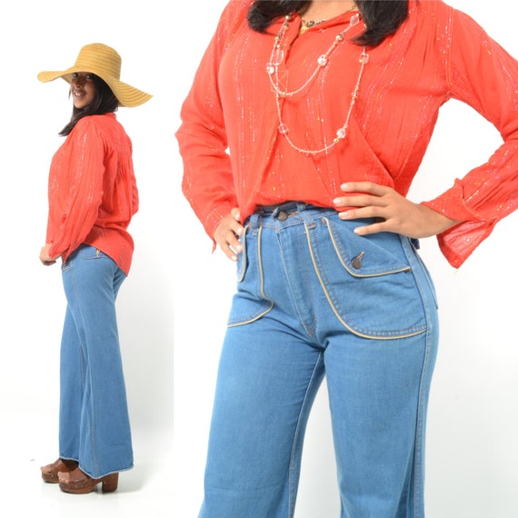 Vintage 70s Super Funky High Waisted Denim Bellbottom Jeans/Jean Pants w/ HUGE Front/back decorated pockets/Chunky Metal Buttons - XS