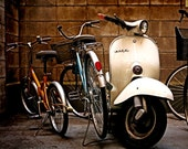 The White Vespa 8x10 print Bicycles, Bike, Scooter, Rustic Decor, Industrial Decor