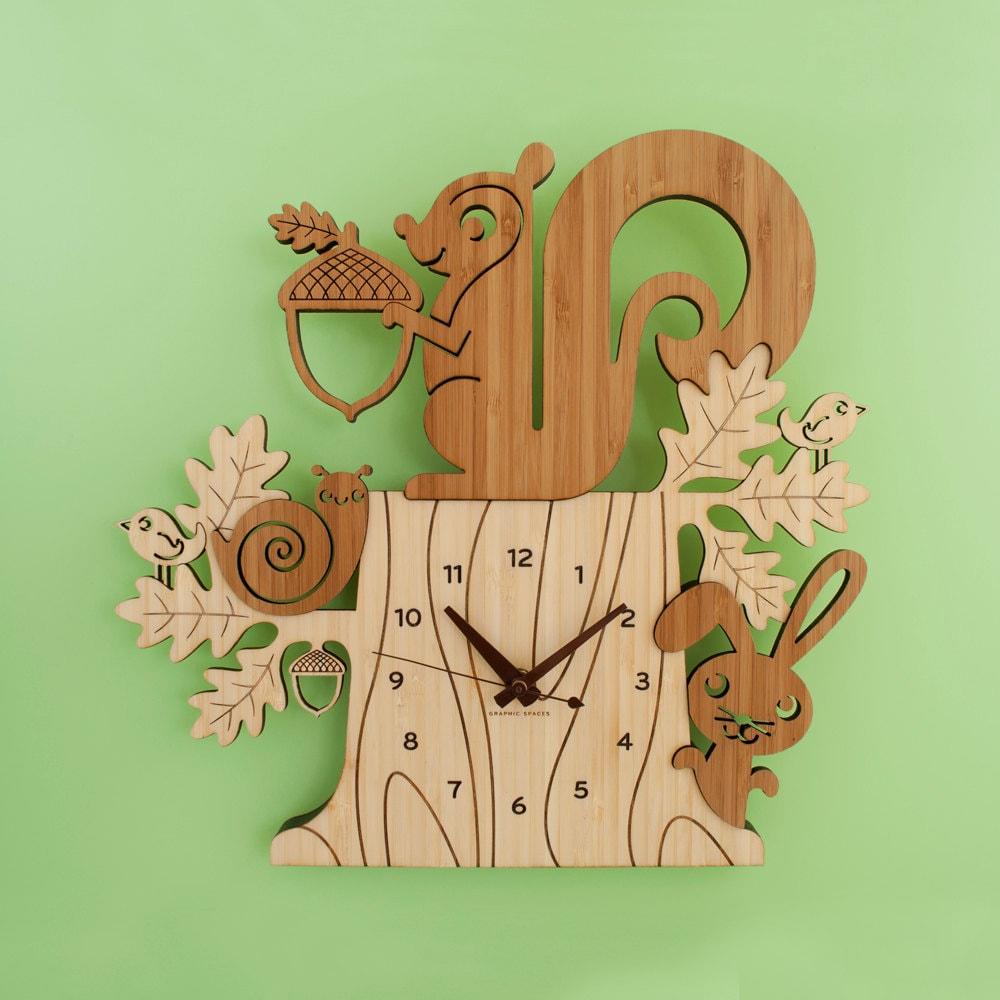 Wood Nursery Wall Clock Woodland Forest Tree Animal Friends