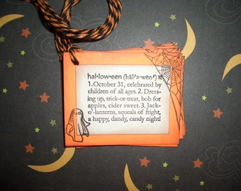 Halloween Tags - Definition of Halloween -  Ghosts - Spider  - Webs - Handstamped - Wish Tree Tags - Set of Six