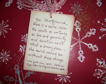 Christmas Tags - Yes Virginia there is a Santa Claus- New York Sun Newspaper -  Sweet Tag - Set of Six