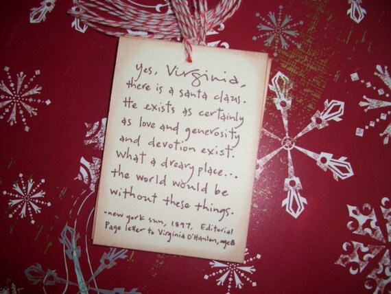 Christmas Tags Yes Virginia There Is A Santa Claus New York