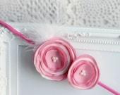 Flower Headband, Pink Rose White Fabric Flowers, Flower Hair Accessories, Toddler Headband, Girl Headband, Ready to ship