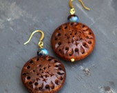 Carved Rosewood Earrings