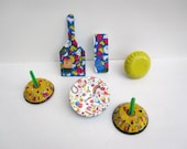Happy New Year Noisemakers - New Years Party Favors - Set of 6 Tin Metal Noisemakers