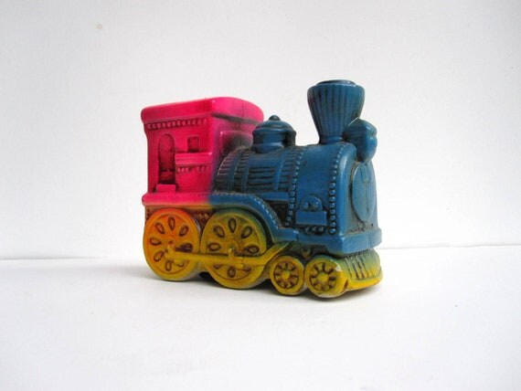 Items similar to train piggy bank neon hot pink and blue ceramic coin bank for my trip on etsy - Train piggy banks ...