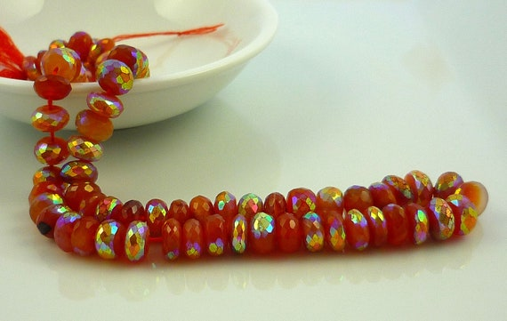 Pretty mystic carnelian ab rondelle beads 8mm set of 6