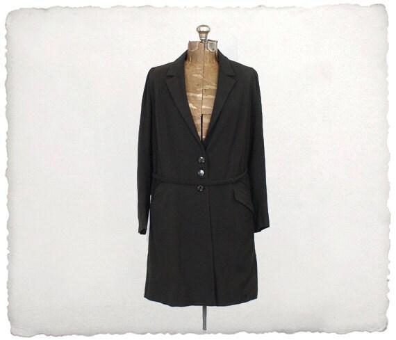 20s jacket / 1920s black draped coat - now 49.99