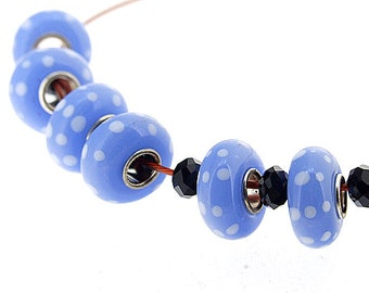 Big Hole 4.5mm 5Beads white circle Blue Lampwork bead Candy  Handmade jewelry designs European Style