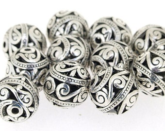 5 pcs of  Silver Color  Bronze Filigree charm Flower Balls Findings  15mm
