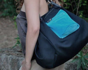 Handmade shopping bag, Gina in Italian stonewashed canvas, in black  , with turqouise suede details MADE TO ORDER