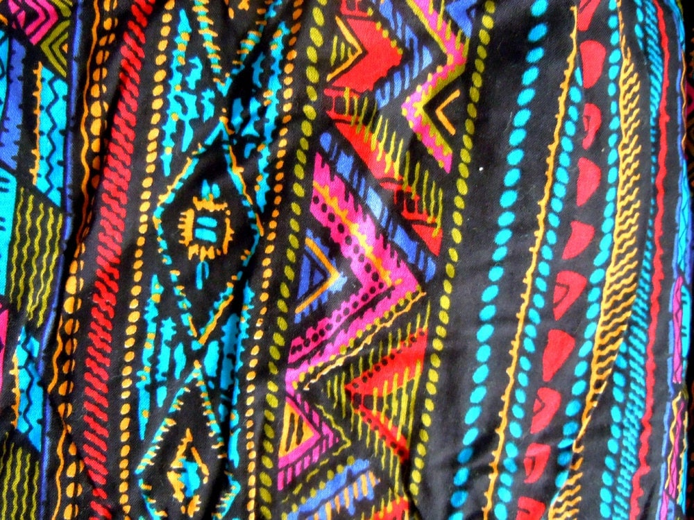 Tribal Print Vintage Fabric Remnant Turquoise Red Black
