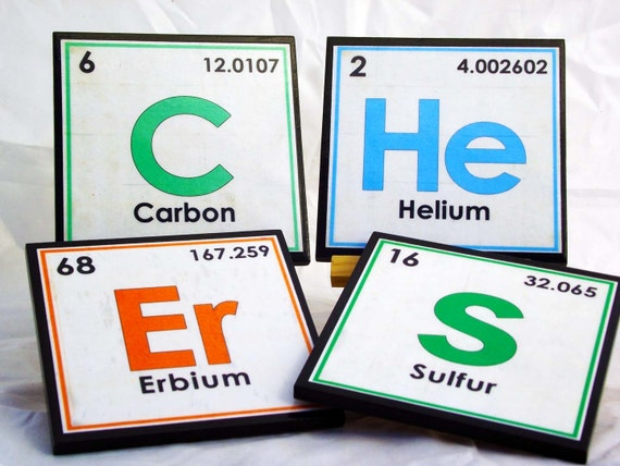 Periodic Table Coaster Set, Wood Drink Coaster, Table of the Elements, Science Geek Gift, Science Art, Unique Teacher Gift, Science Nerd