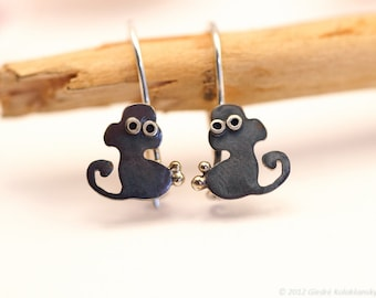MONKEY Silver Hook Earrings  Mini Zoo series