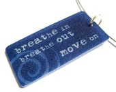 inspirational necklace - breathe in breathe out mantra - plastic fashion jewelry - typography - yoga pendant