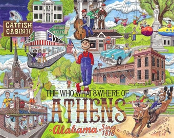 The Who, What and Where of Athens, Alabama postcards pack of 10 signed by artist