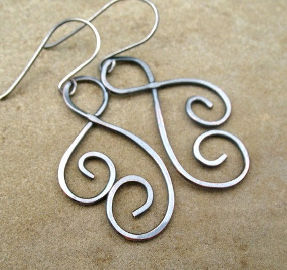 Copper Earrings Hammered Mixed Metal Jewelry