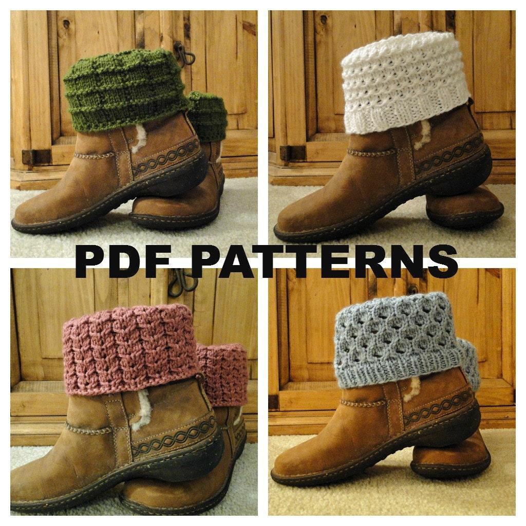 PDF PATTERNS Knit Boot Cuff Leg Warmer 4 different patterns