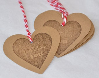 Kraft Heart Paper Tags Valentines Day Gift Wrap Set of 10 Paper Punched Hearts Die Cut Large Hearts