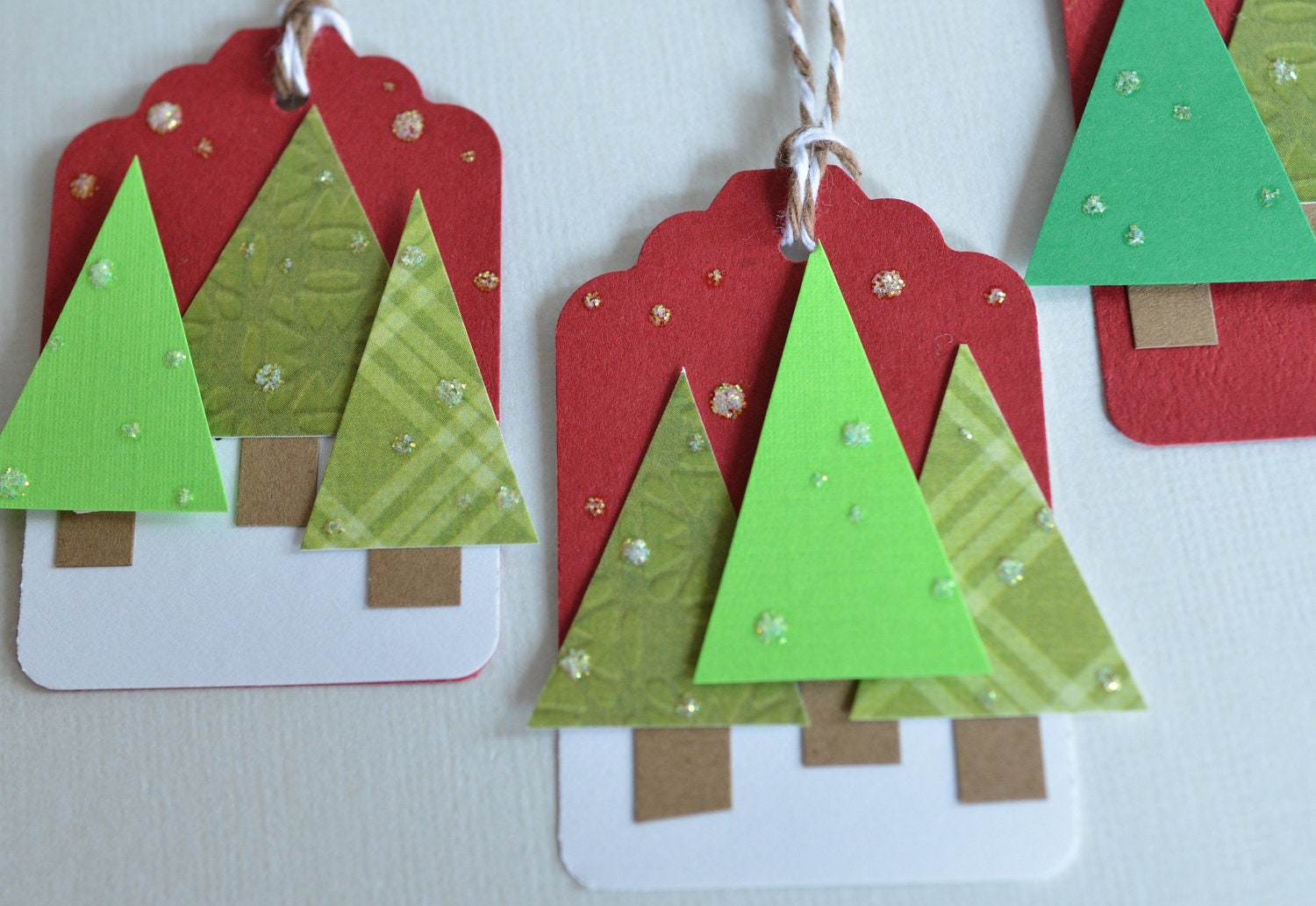 Christmas Tags: Christmas Gift Tags Trees Handmade Holiday Tag 3D Labels Set