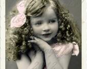 Vintage Digital photo, Sweet Curls Girl