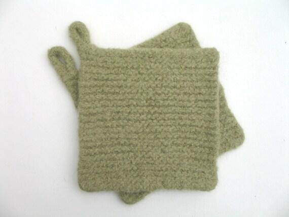 Felted wool mohair pot holders trivets - SET OF TWO - bracken - soft green