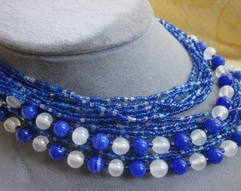 1950's Blue Multi Strand Choker Necklace