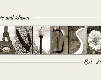 Architecture letter picture - Alphabet Photography Custom Sepia Name Frame Print 10x20 (Unframed)
